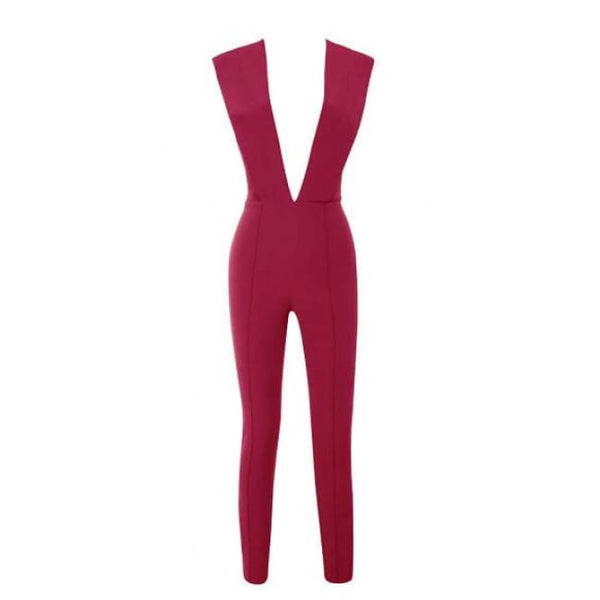 Free Shipping New Arrivals 2016 Gray Deep V Fitted Sexy Bodycon Jumpsuit Nightclub Women Blue Burgunday Rosy 10 Colors Available Rosy / Xs