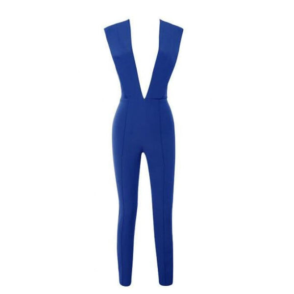 Free Shipping New Arrivals 2016 Gray Deep V Fitted Sexy Bodycon Jumpsuit Nightclub Women Blue Burgunday Rosy 10 Colors Available Blue / Xs
