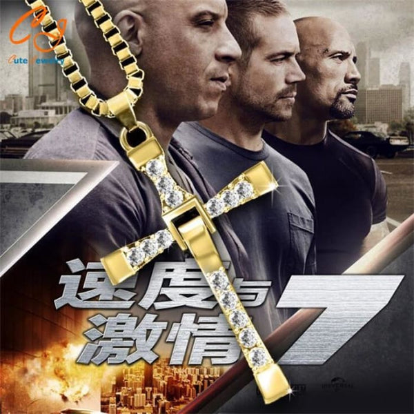 Freeshipping Fast And Furious Seven Gold Color Dominic Hot Selling Dominic Toretto Cross Mens Necklace Pendant Wholesale 2016 Pendant