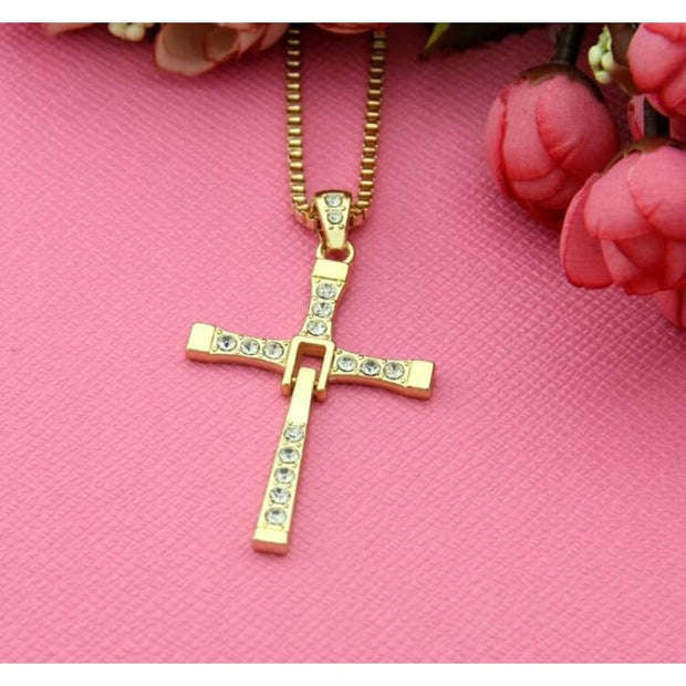 Freeshipping Fast And Furious Seven Gold Color Dominic Hot Selling Dominic Toretto Cross Mens Necklace Pendant Wholesale 2016 Gold Pendant