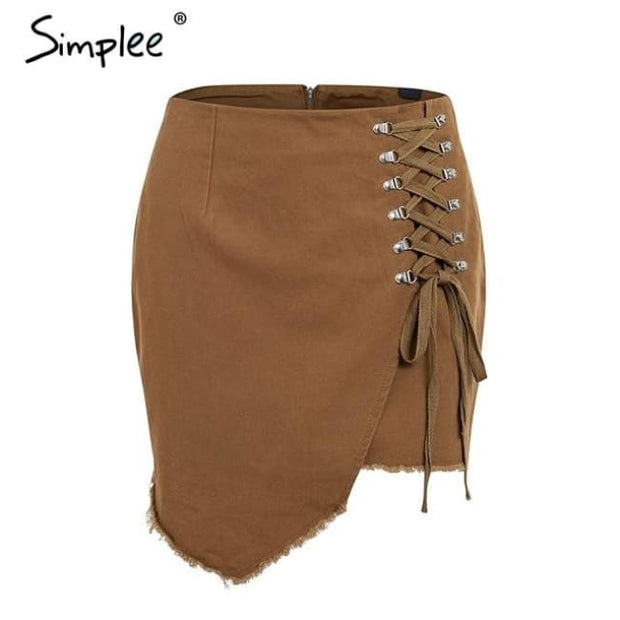 Fringe Lace Up Skits Brown / S