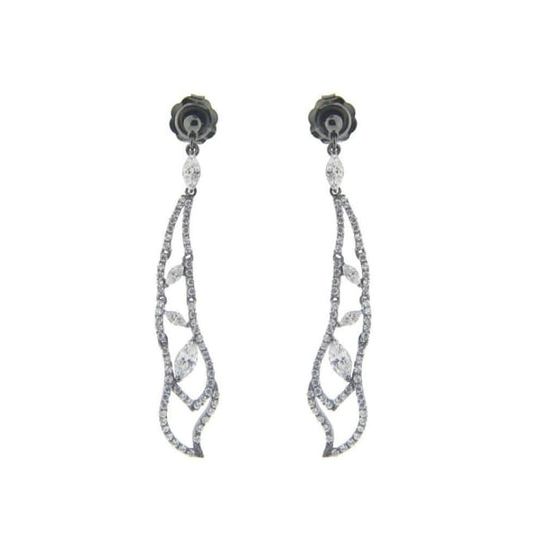 Fronay Sterling Black Rhodium Silver Bridal Dream Drop Earrings 2.65 Women - Jewelry - Earrings