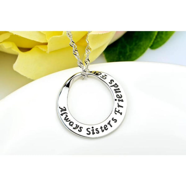 Genuine 925 Sterling Silver Circle Necklace Always Sisters Forever Friends Engraved Necklace Women Accessories Gnx0009 Necklaces