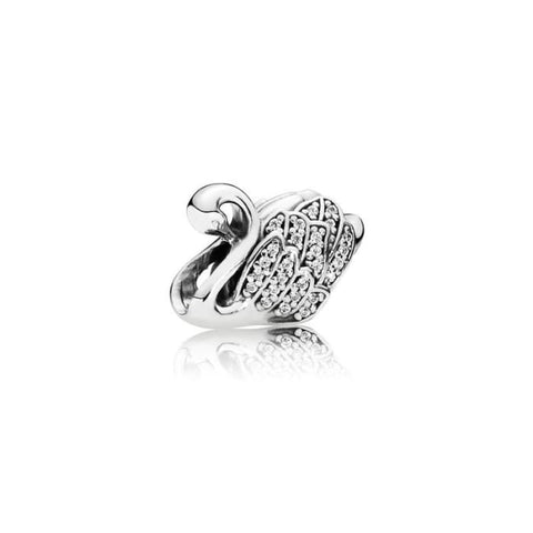 Genuine 925 Sterling Silver Swan Charm Home