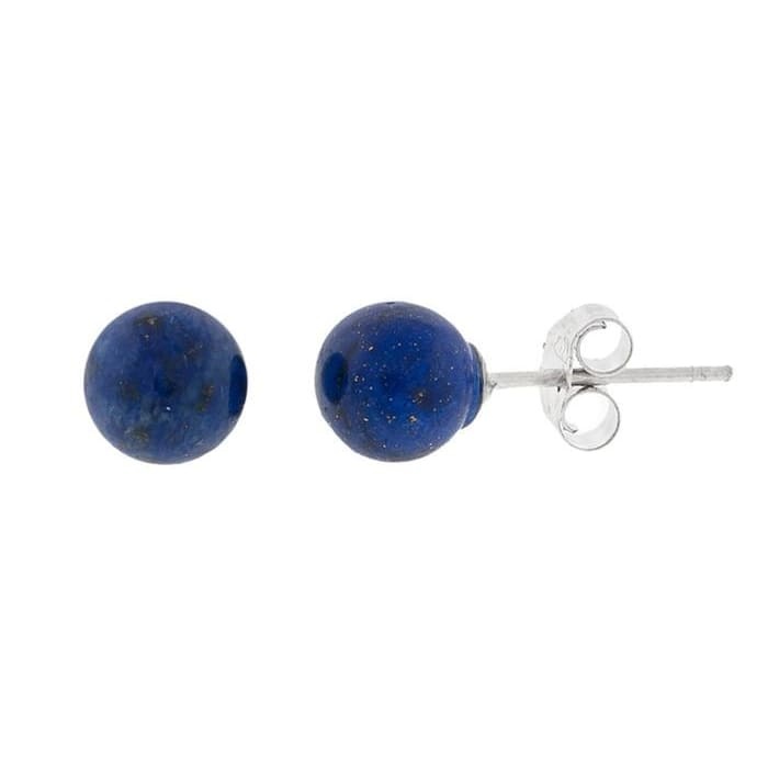 Genuine Lapis Gemstone Ball Stud Earrings