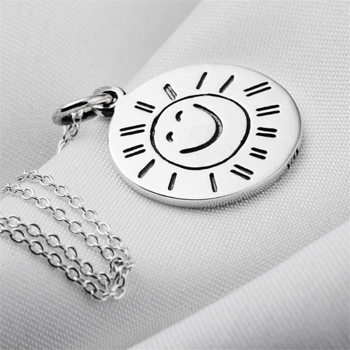 Gnx2058 Genuine 925 Sterling Silver Necklace Vintage Jewelry Necklaces & Pendants For Women You Are My Sunshine Collier Necklaces
