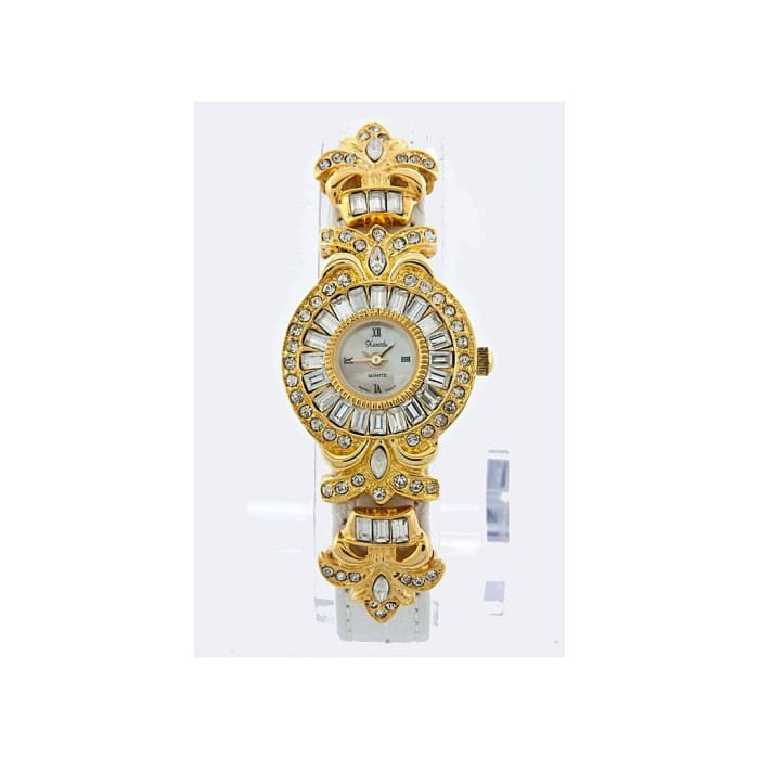 Gold And White Frame Watch With Crystals Women - Accessories - Watches
