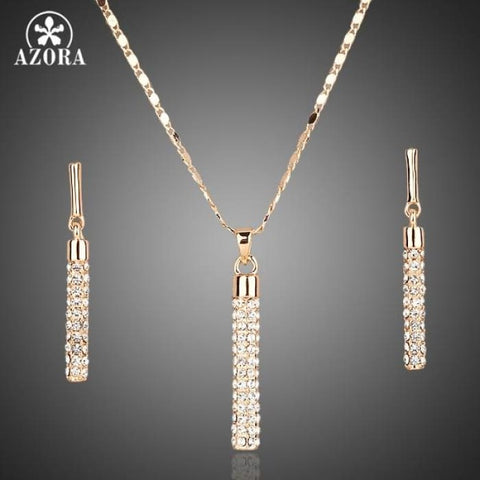Gold Color Clear Austria Crystals Drop Earrings And Pendant Jewelry Sets