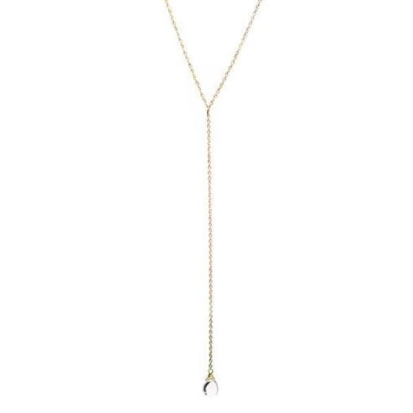 Gold Necklace 14K Gold Dipped Y Necklace Water Droplet Pendant - Long Lariat Style Fashion