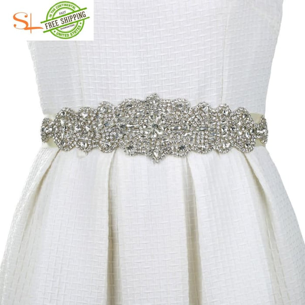 Gorgeous Rhinestone Trim And Detailed Bridal Sash Wedding Belt Applique Women Cummerbunds Belts &