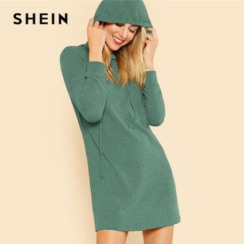 Green Solid Rib Knit Hoodie Dress Casual Long Sleeve Stretchy Sweater Dress