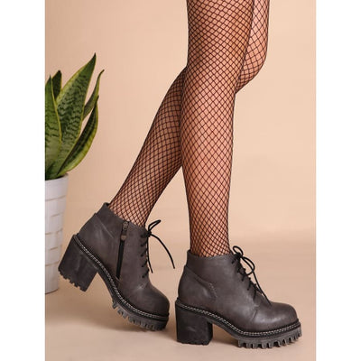 Grey Pu Round Toe Lace Up Chunky Ankle Boots Boots