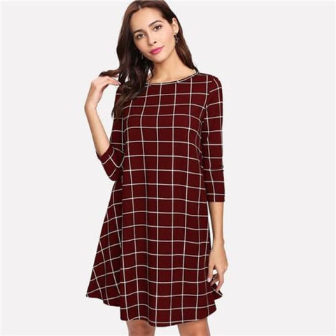 Grid Print Swing Dress Burgundy / Xs