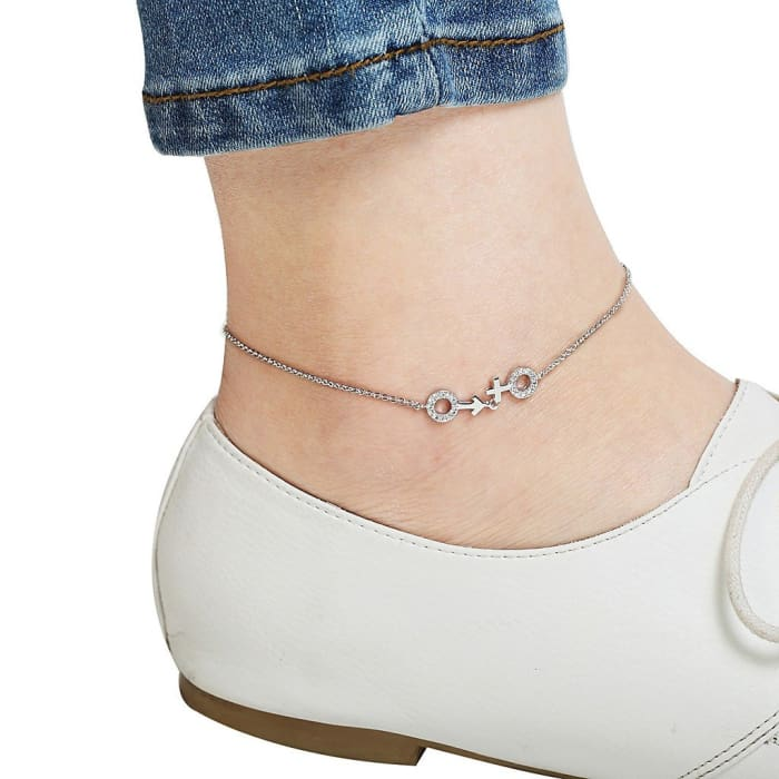 He-She Silver Plated Bling Anklet Women - Jewelry - Bracelets
