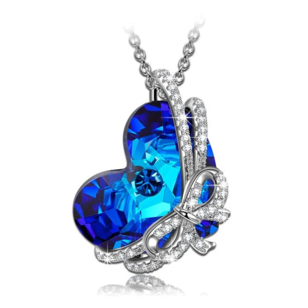 Heart Of Ocean 925 Sterling Silver Necklace Made With Swarovski Crystals Fine Jewelry [Gift Packing]- Once In A Lifetime Gift!
