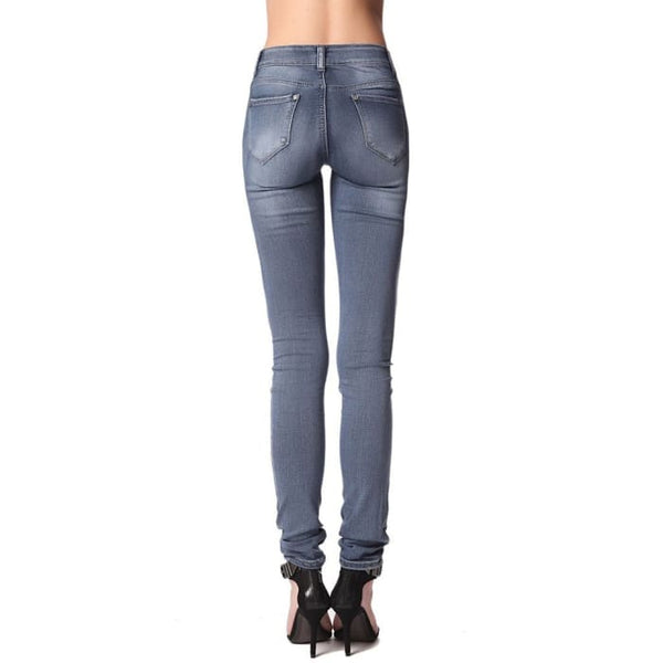 High Waist Jeans With Light Distress Mid Wash Women - Apparel - Denim - Jeans
