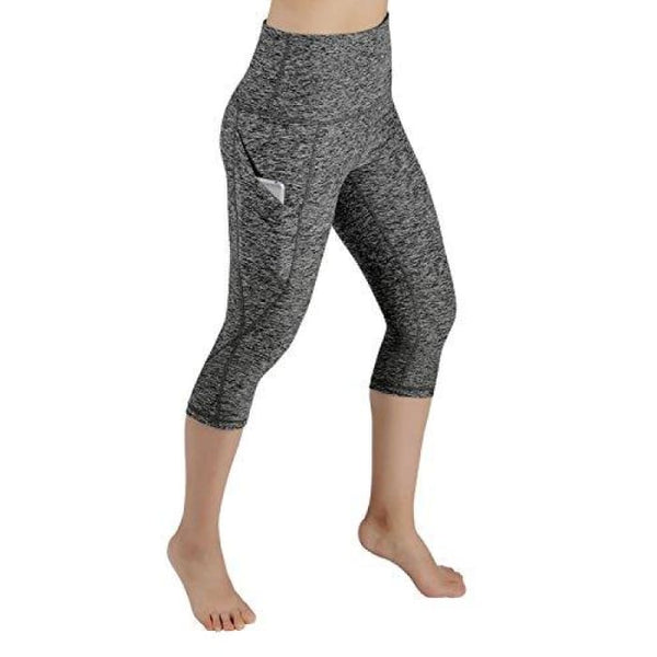 High Waist Out Pocket Yoga Pants Tummy Control Workout Running Small / Yogapocketcapris714-Charcoalheather