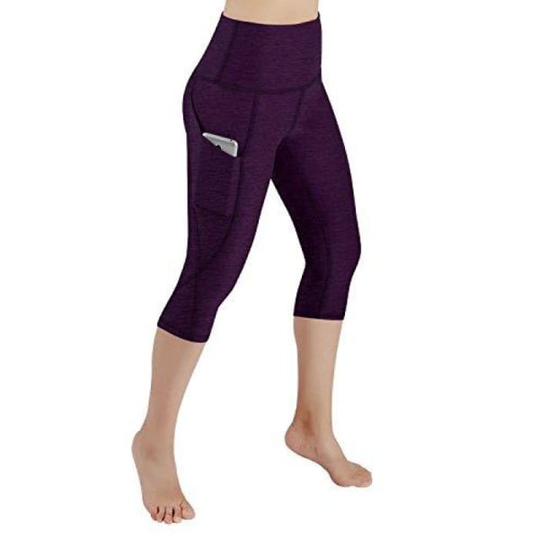 High Waist Out Pocket Yoga Pants Tummy Control Workout Running Small / Yogapocketcapris714-Deeppurple