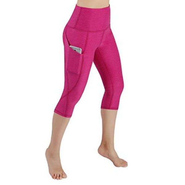 High Waist Out Pocket Yoga Pants Tummy Control Workout Running Small / Yogapocketcapris714-Fuchsia