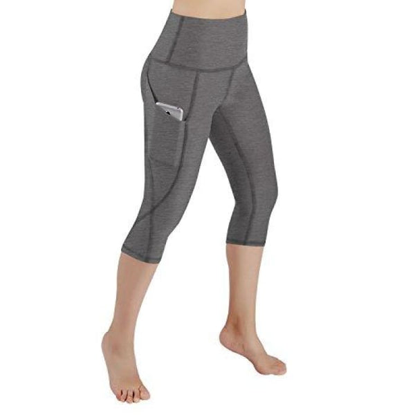 High Waist Out Pocket Yoga Pants Tummy Control Workout Running Small / Yogapocketcapris714-Grey