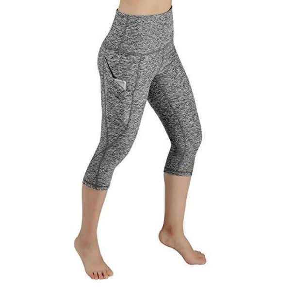 High Waist Out Pocket Yoga Pants Tummy Control Workout Running Small / Yogapocketcapris714-Greyheather