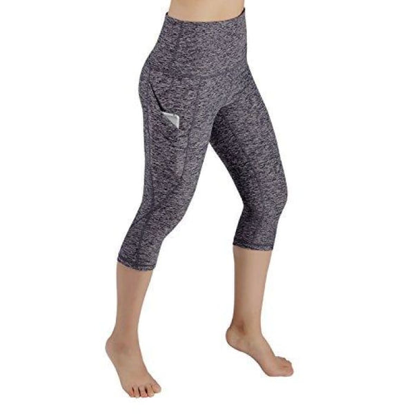 High Waist Out Pocket Yoga Pants Tummy Control Workout Running Small / Yogapocketcapris714-Navyheather