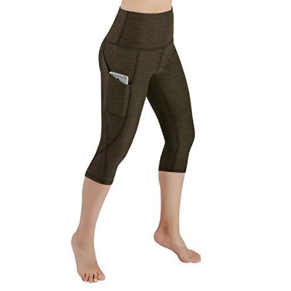 High Waist Out Pocket Yoga Pants Tummy Control Workout Running Small / Yogapocketcapris714-Olive Brown