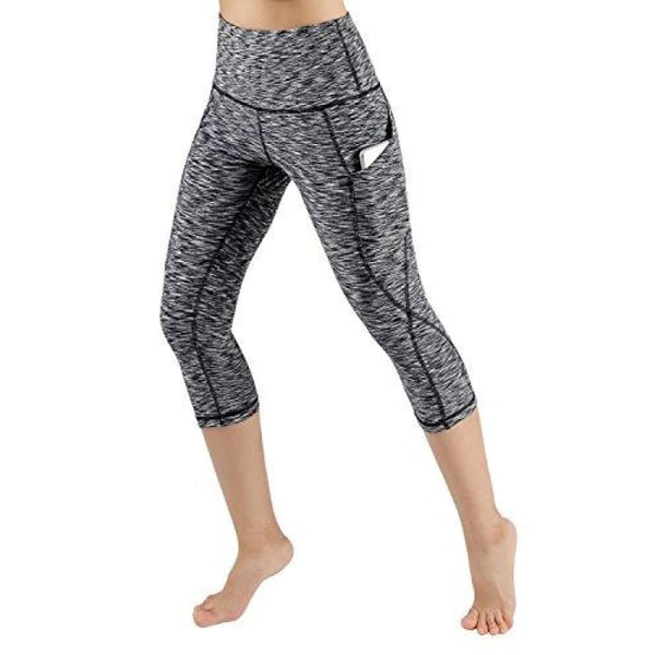 High Waist Out Pocket Yoga Pants Tummy Control Workout Running Small / Yogapocketcapris714-Spacedyeblack