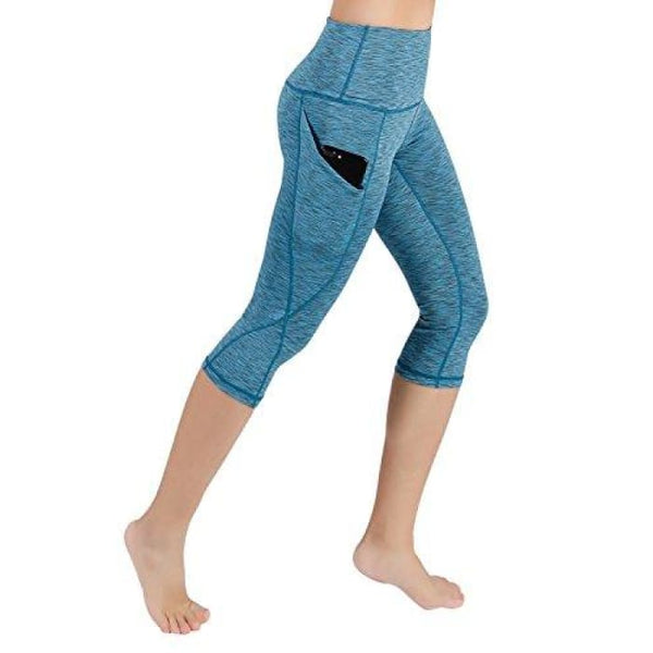 High Waist Out Pocket Yoga Pants Tummy Control Workout Running Small / Yogapocketcapris714-Spacedyeblue