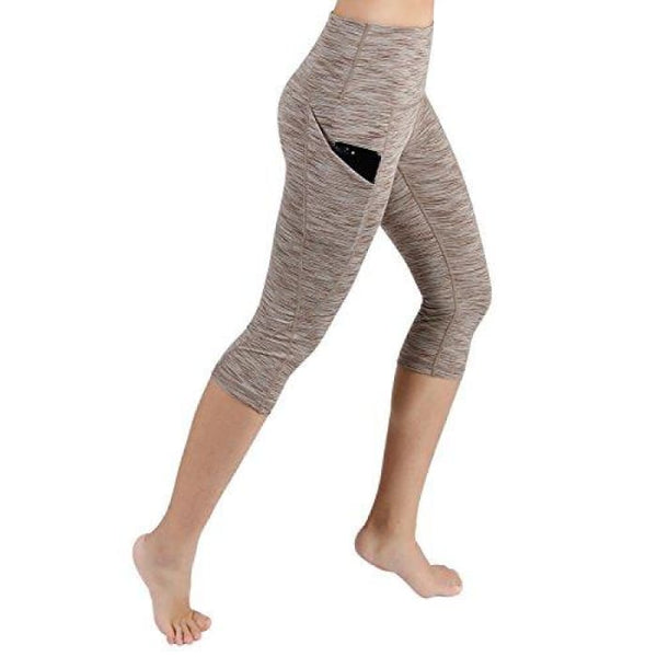 High Waist Out Pocket Yoga Pants Tummy Control Workout Running Small / Yogapocketcapris714-Spacedyebrown