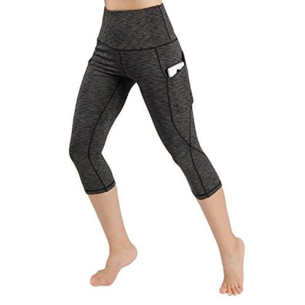 High Waist Out Pocket Yoga Pants Tummy Control Workout Running Small / Yogapocketcapris714-Spacedyecharcoal