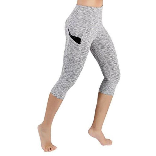 High Waist Out Pocket Yoga Pants Tummy Control Workout Running Small / Yogapocketcapris714-Spacedyegray