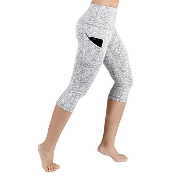 High Waist Out Pocket Yoga Pants Tummy Control Workout Running Small / Yogapocketcapris714-Spacedyewhite