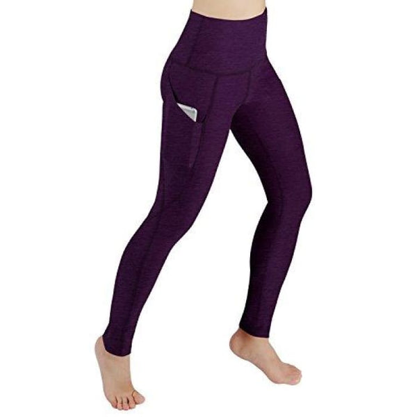 High Waist Out Pocket Yoga Pants Tummy Control Workout Running Small / Yogapocketpants715-Deeppurple