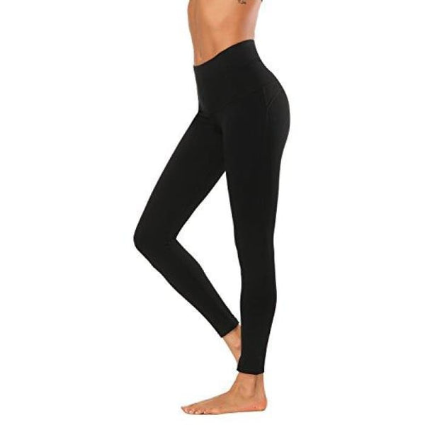 High Waisted Yoga Pants - Running Workout Legging Hidden Pocket Non See-Through Black / X-Small Leggings