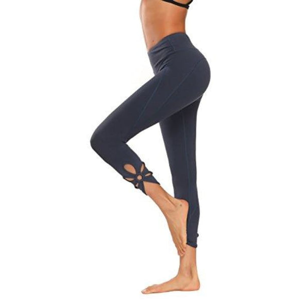 High Waisted Yoga Pants - Running Workout Legging Hidden Pocket Non See-Through Cutout Charcoal / X-Small Leggings