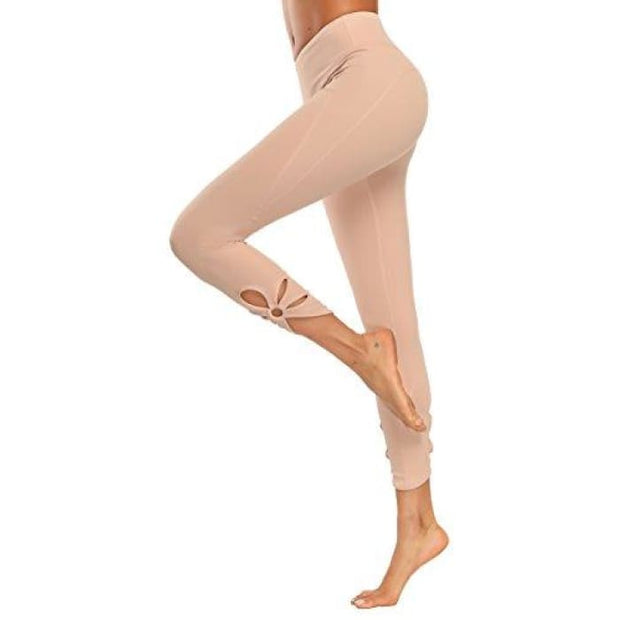 High Waisted Yoga Pants - Running Workout Legging Hidden Pocket Non See-Through Cutout Pink / X-Small Leggings