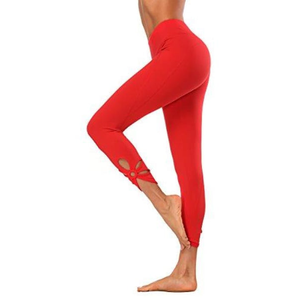 High Waisted Yoga Pants - Running Workout Legging Hidden Pocket Non See-Through Cutout Red / X-Small Leggings