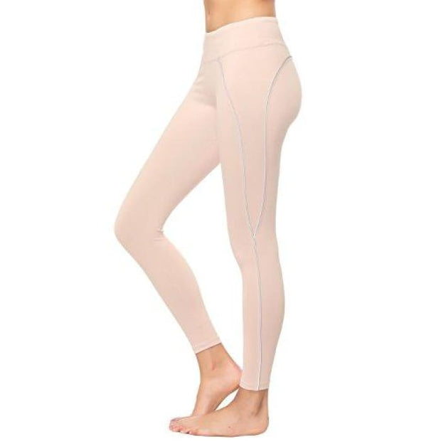 High Waisted Yoga Pants - Running Workout Legging Hidden Pocket Non See-Through Pink1 / X-Small Leggings