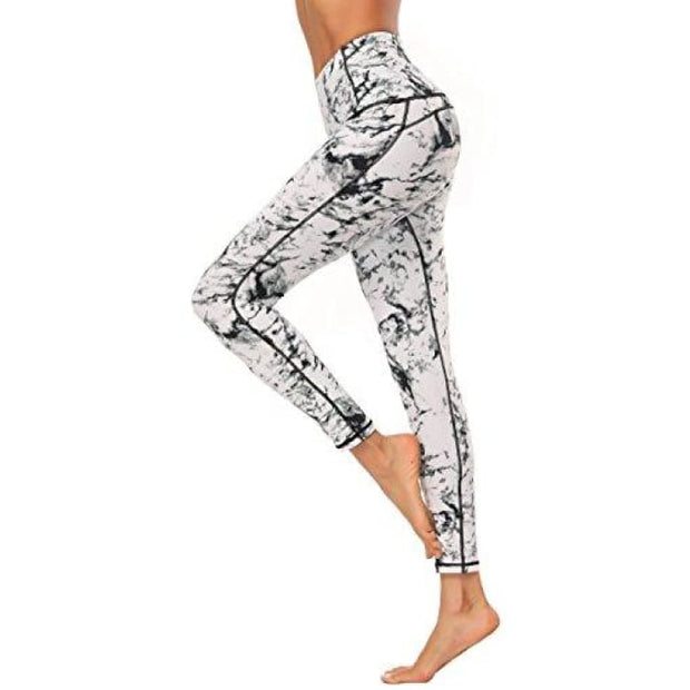 High Waisted Yoga Pants - Running Workout Legging Hidden Pocket Non See-Through White / X-Small Leggings