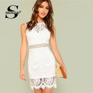 Hollow Out Insert Lace Dress