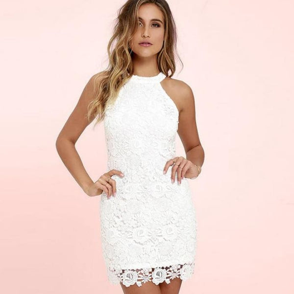 Hollow Out Sexy Mini Dresses White / S Dresses