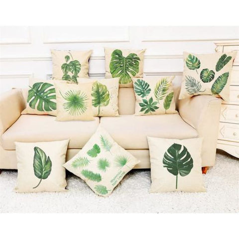 Home Decor Cushion Cover Big Leaf Tropical Plants Home & Garden