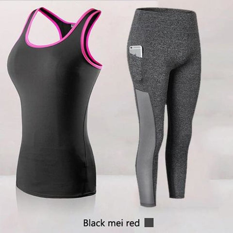 Hot Sales Women Athletic Gym Yoga Clothes Running Fitness Clothing 2002Bpink2087Grey / S Home