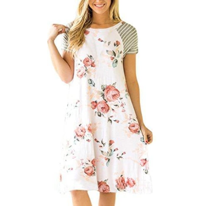 4cdf38bc486bf Hotapei Womens Floral Print Casual Short Sleeve A-Line Loose T-Shirt  Dresses Knee ...