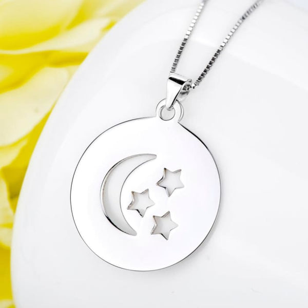 I Love You To The Moon And Back Necklace 925 Sterling Silver Moon And Star Print Engraved Necklace For Women Gnx8746 Necklaces