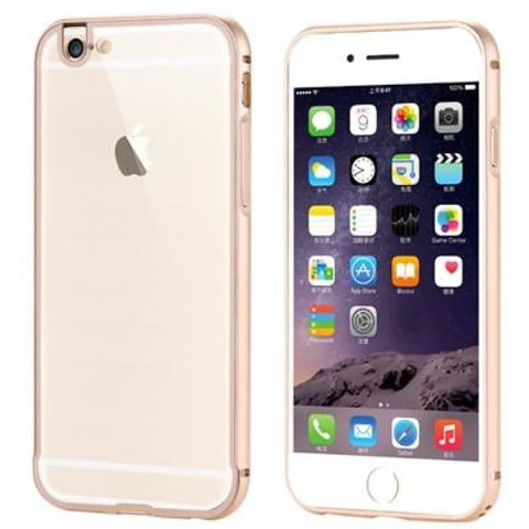 I6 4.7/6S Fashion 2 In 1 Hybrid Slim Clear Case For Iphone 6 6S Hard Aluminum Metal Frame + Plastic Back Mobile Phone Cover Capa Gold Phone