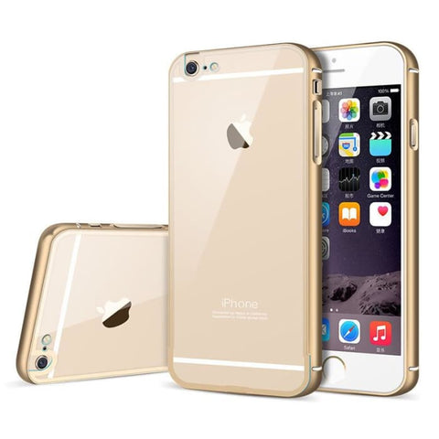 I6 Luxury Hard Metal Aluminum +Soft Transparent Pc Back Case For Apple Iphone 6 4.7 Cover Case Original Brand Mobile Phone Gold Phone Bags &