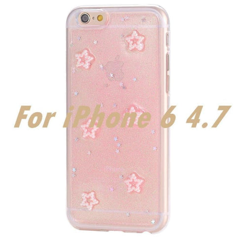 I6 / Plus Glitter Rainbow Case For Apple Iphone 6 4.7/ Plus 5.5 With Bling Stars Soft Tpu Silicone Gel Cell Phone Back Cover For Iphone 6
