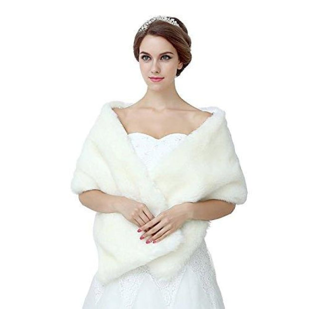 Ivory Shawl Wrap Faux Fur Scarf Stoles For Wedding Dresses Clothing